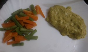 Chicken in Creamy Mustard Sauce, served with steamed veggies