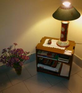 Corner table and lamp
