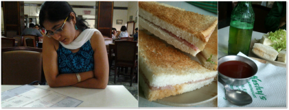 From the menu to the table - sandwiches at Koshy's.