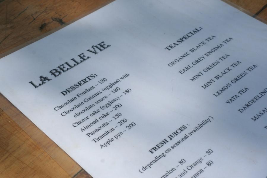 La Belle Vie - Dessert menu